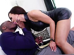 Ebony and pale-complexioned porn dusting starring fucking awesome cougar Lisa Ann