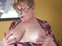 Old busty grandmother hungry for a good fuck