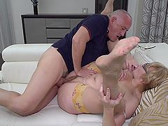 Foreplay and fucking with a real mature couple