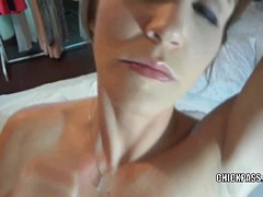 Lustful housewife Jolene is going down on a unyielding rod