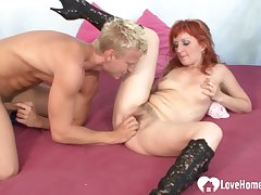 Redhead woman is very ardent hither cock riding