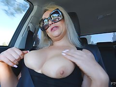Amateur matchless blonde MILF Elle masturbates in a car wearing glasses