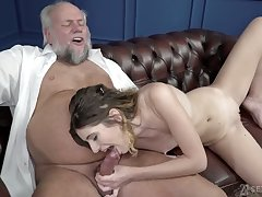 Titless young chick Candice Demelzza wanna swell up old strong cock