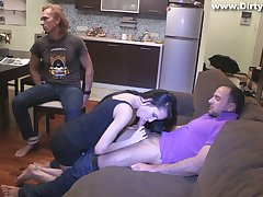 Slutty girlfriend Rosa Mentoni is fucked in front of constrained roughly cuckold boyfriend