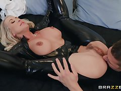 50 y.o. mature woman involving latex catsuit getting fucked hard by a young man