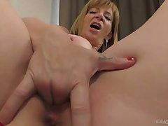 Socking breasted auburn whore Sara Joker teases cunt before giant BJ