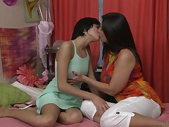 Young brunette Cadey Mercury'll never forget first lesbian sex with busty neonate