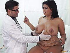 Buxom Latina seduced by her doctor into going to bed and eating cum