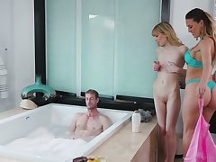 Two comely masseuses are fucking one attracting guy with big dick