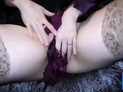 Double satin blouse and satin panty play masturbation