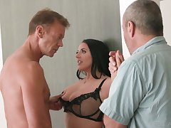 Horny Rocco fucks big titties seductress Angela Pallid right on the kitchen meals