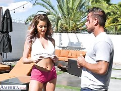Lustful babe everywhere shorts Emily Addison has an affair on touching handsome boy Johnny Castle