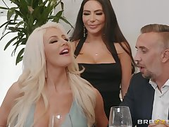 hot divas Lela Star and Nicolette Shea allotment hard friend's penis