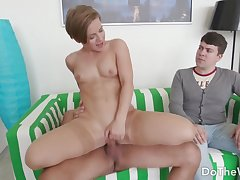 Stunning Wife Sasha Zima Bounces on Hard Horseshit as a Smiling Cuckold Looks On