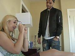 Handsome guy destroys Sarah Vandella's wet pussy with successful pecker