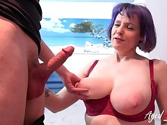 Hot and busty mature lady sucked hard weasel words got fucked hardcore by youngster