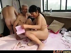 Asian Grandpa Trio all round mature woman