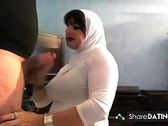 turbaned woman's mouth discharged