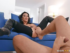 Seductive accommodation billet porn on a couch with the younger enactment son