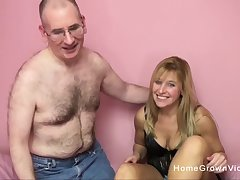 Big mamma blonde sucks together with fucks a creepy older man