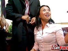 Upsetting Asian MILF Lucky Starr Gangbanged of a Raise