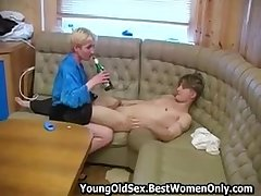 Russian Cougar Give Compacted Boobs Fuck Drunk House-servant