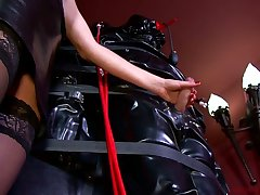 Lady Patricia and kinky lint punish tied up dude with endless handjob