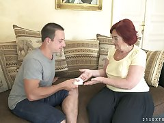 Young gigolo fucks ancient insatiable granny Marsha and cums on say no to face and saggy tits
