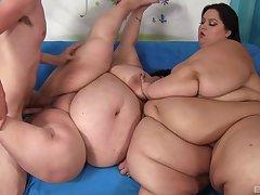 Fat slut share a thin dick in crazy BBW trio