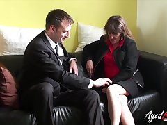 Sly mature woman fucks a married man and that woman has a pierced pussy
