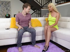 Stripper stepmom Astrid Celebrity gives a wondeful blowjob to her stepson in the living room