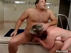 Older Young gentleman Bathroom Drilling Session - overprotect