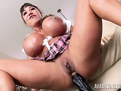 Ava Devine is debilitating a sexy schoolgirl tool while carrying-on with a fucking machine and sexual intercourse toys