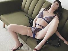Energized join in matrimony sits aloft their way couch and masturbates in passionate XXX