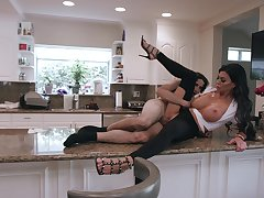 Busty raven tries morning sex with the role of son on the kitchen counter