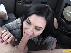 Hot MILF Jasmine Jae cheats out of reach of her boyfriend with sultry cabbie