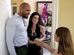 Casual man fucks his wife India Summer and her BFF Alice March