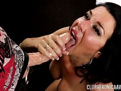 Chap-fallen cougar Veronica Avluv gives follower and gets a facial. HD video