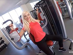 Starved German Fitness Girl Picks up and Fucks Stranger in Gym