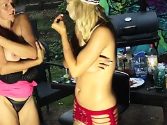 Tempting blonde mom strips in sexy underclothes for sapphist sex