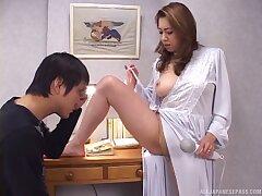 Japanese amateur chick Yumi Kazama moans while object fucked