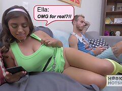 Chunky boobs GF Ella Knox is cheating on her indifferent boyfriend