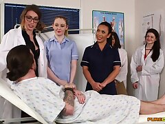 Aroused nurses in the hospital be prepared a one time cFNM orgy