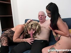 Grandpa fucks his niece together with his become man in a glorious amateur threesome