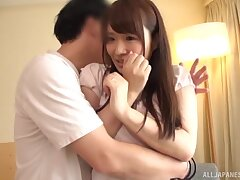 Quickie fucking on the sofa with natural tits Hibino Satomi